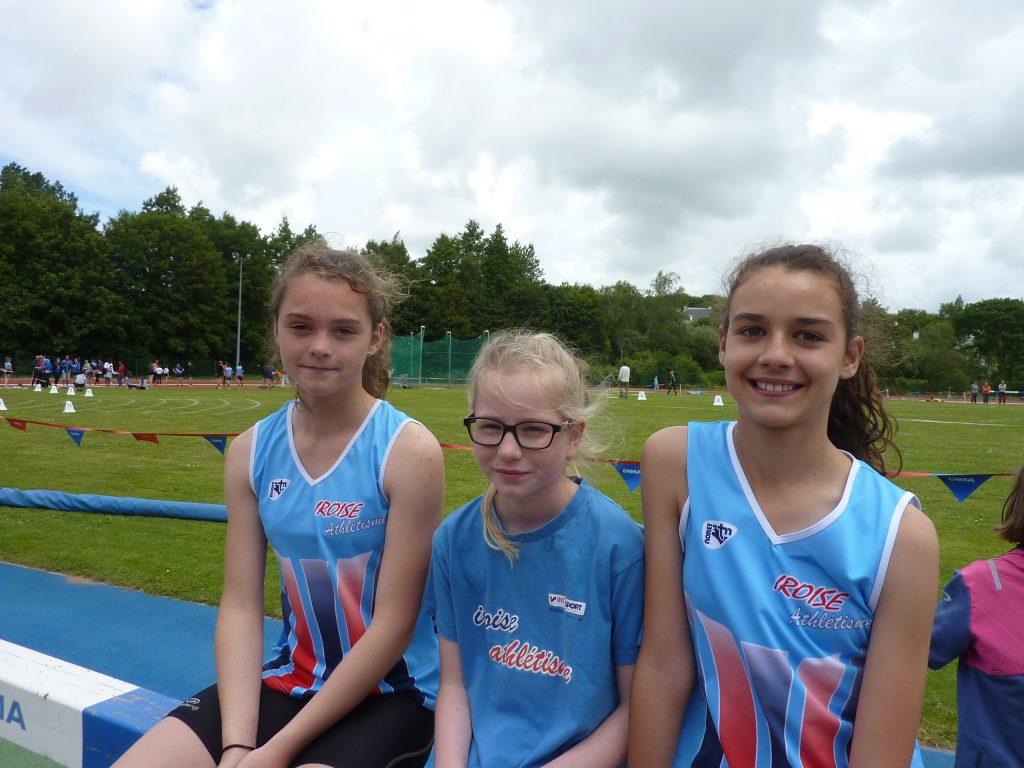 Les sprinteuses du 50 haies: Lucie, Manon, Jeanne