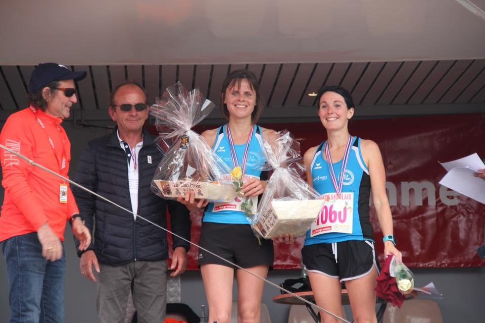 Carole, Championne du Finistère de semi-marathon et Adeline, Vice-championne
